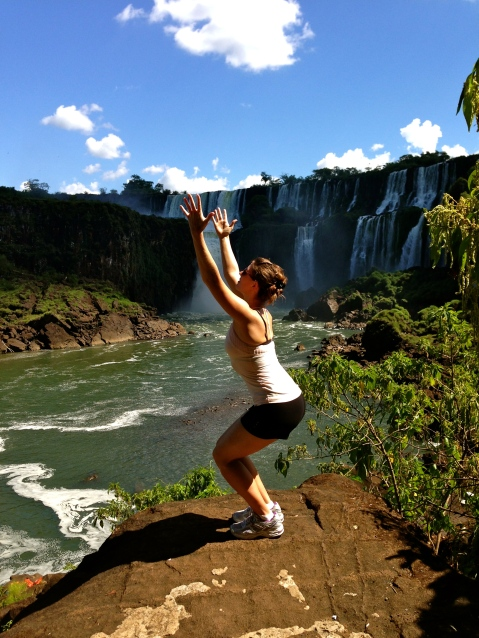 Yoga Meditation. Iguazu Falls, Argentina.